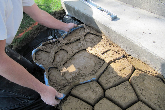 Creating a stamped concrete patio