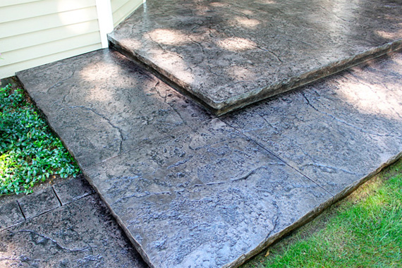 Stamped concrete patio with hand-tooled border