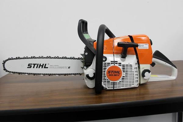 Recalled Stihl chain saw displayed on a table