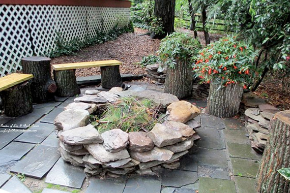 Patio ideas with fire pit on a budget interior home for Flagstone patio designs