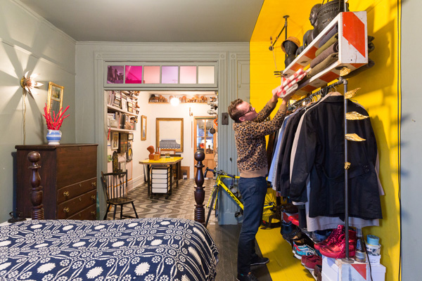 Hanging rack for clothes in NYC apartment