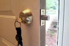 Courtney's new lock on the front door of her house