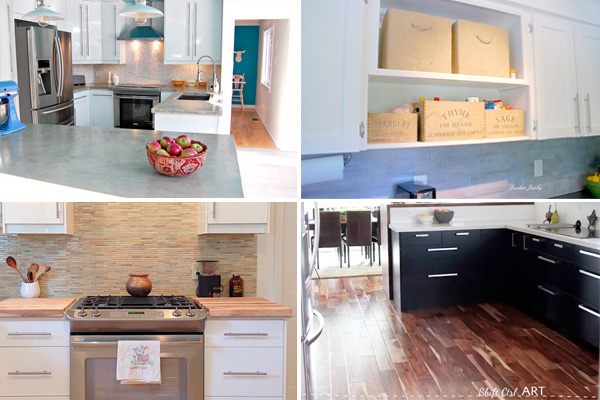 Composite of different transitional kitchens.