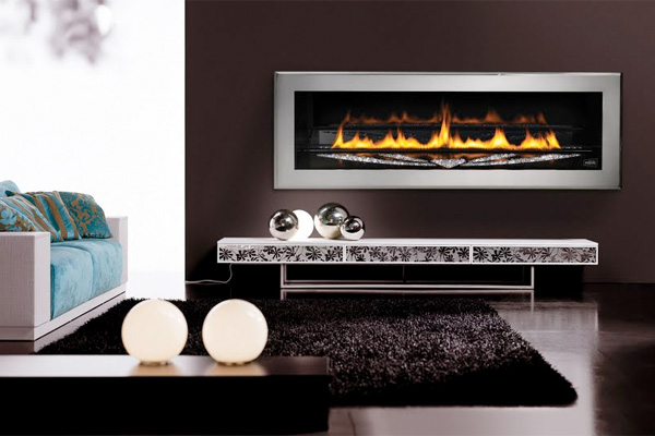 A fancy fireplace with Swarovski crystals