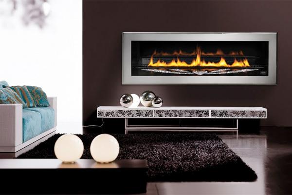 A fancy fireplace with Swarovski crystals