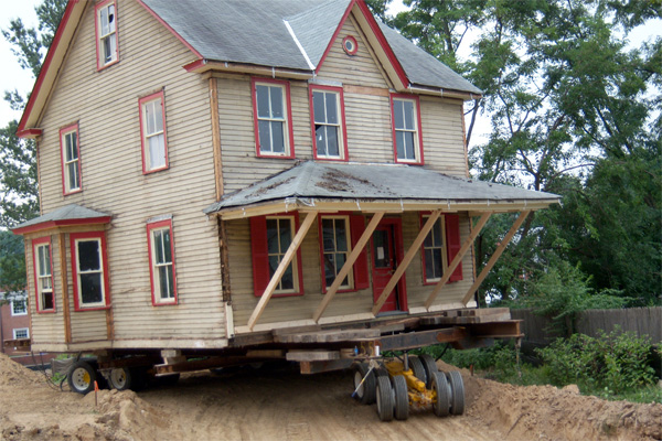 This house was moved by truck to a new location