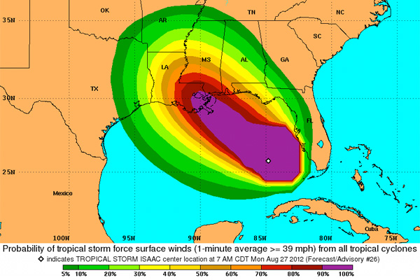 NOAA&#39;s Tropical Storm Force Wind Speed Probabilities map
