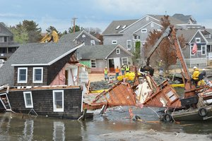 Flooded home in the process of being demolished