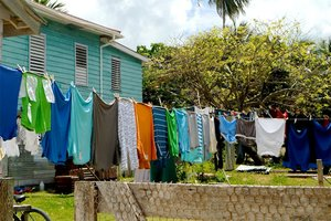 Clothing drying on a clothesline