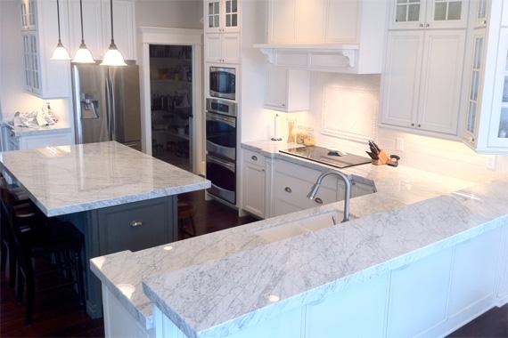 White Carrara Marble Countertops | White Kitchen Pictures