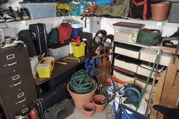 Garage filled with home owner clutter