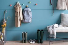 Coat hooks and boot storage