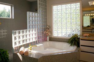 Glass block privacy window in bathroom