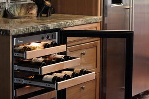 Built-in wine fridge in kitchen