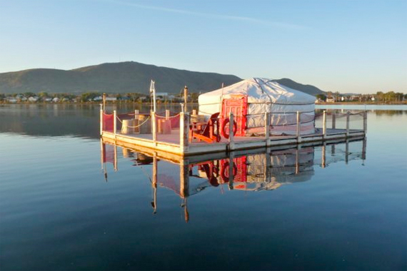 A Yurt Suspended on the Water | Yurt Houses
