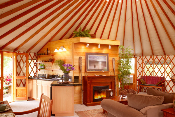 Interior of a yurt home