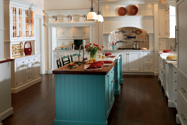 Bright island in white kitchen