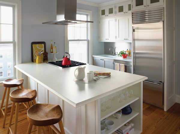 White Formica kitchen counter